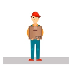 Delivery Man Holding Package vector image