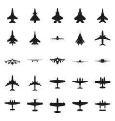 Different monochrome airplanes icon set vector image