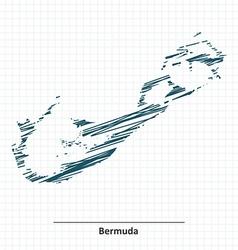 Doodle sketch of Bermuda map vector image