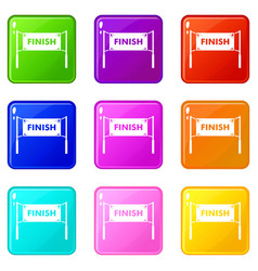 finish line gates set 9 vector image vector image
