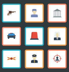 Flat icons policeman police car building and vector