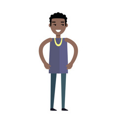 Handsome black man with cheerful attitude vector