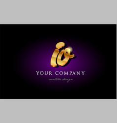 Io i o 3d gold golden alphabet letter metal logo vector