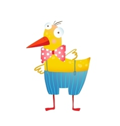 Kids humorous yellow duck with bow tie vector