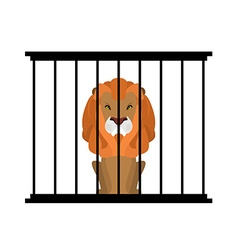Lion in zoo cage Strong Scary wild animals in vector image vector image