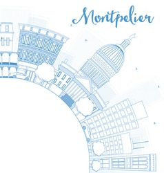 Outline montpelier vermont city skyline vector