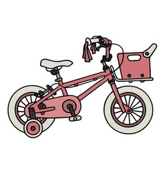 Pink child bike vector