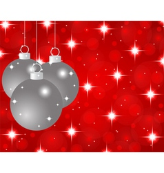 red Christmas background with Christmas balls vector image