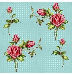 Rose pattern on blue vector