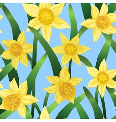 Seamless background with daffodils vector