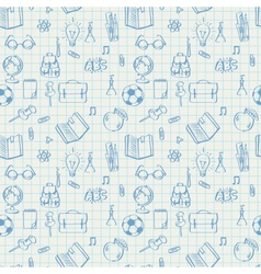 Seamless school pattern doodles on math paper vector image