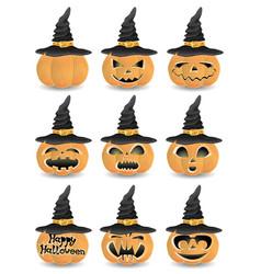 Set of halloween pumpkins vector