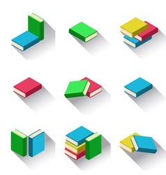 Set of stacks of multi colored books with shadow vector image vector image