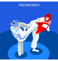 Taekwondo 2016 summer games 3d isometric vector