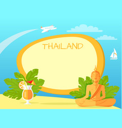 thailand isle with buddha statue and cocktail vector image
