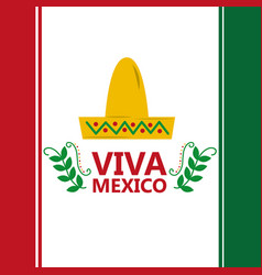 viva mexico flag hat traditional costume image vector image
