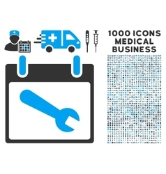 Wrench tool calendar day icon with 1000 medical vector