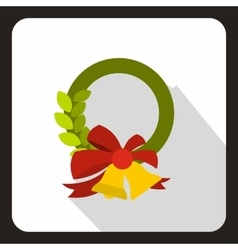 Christmas wreath with bell icon flat style vector