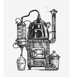 Distillation apparatus sketch hooch vector