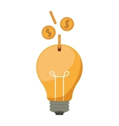 ligth bulb with dollar coins vector image