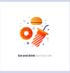 Red donut and tumbler glass with straw fast food vector
