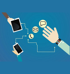 Smart watch connected to devices vector