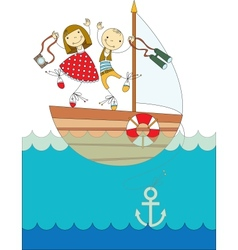 trip on a yacht vector image