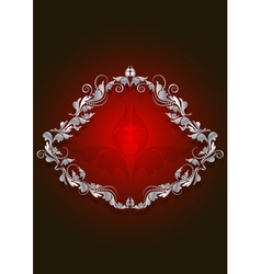 White vintage frame on the brilliant red backgroun vector image
