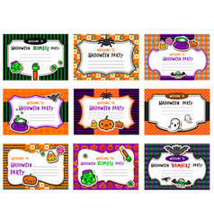 Set of cute halloween invitations vector