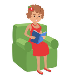 woman reading a book sitting in vector image