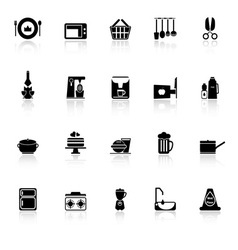 Home kitchen icons with reflect on white vector image