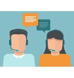 flat call center operators vector image