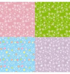 set seamless pattern dandelion vector image