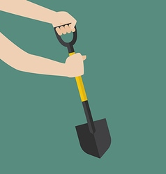 Hand hold shovel prepare to dig vector