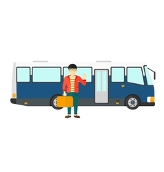 Man standing near bus vector