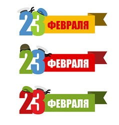 23 february set symbol for patriotic holiday in vector