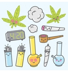 Marijuana kawaii cartoon objects pack vector