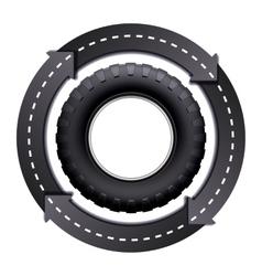 Circles arrow road and car tire vector