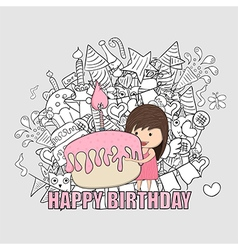 Girl with birthday cupcake background vector