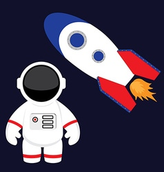 Astronaut and space ship vector