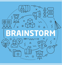 Blue line flat circle brainstorm vector