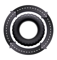 Circles arrow road and car tire vector