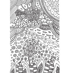 coloring page with doodle flower and landscape vector image