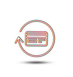 Credit card line icon cashback service vector
