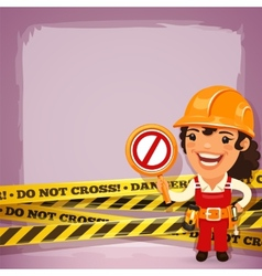Female Builder With Danger Tapes vector image vector image