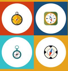 Flat icon compass set of instrument measurement vector
