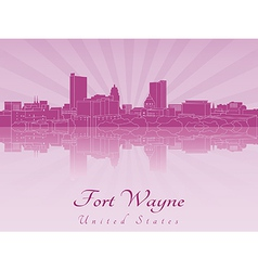 Fort Wayne skyline in purple radiant orchid vector image