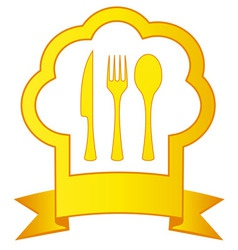 Gold icon with chef hat and kitchen utensil vector