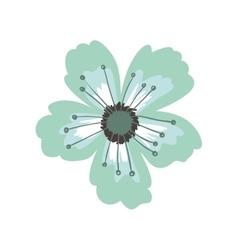 Green petals of flower with pistils vector