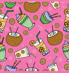 Hand drawn seamless patterns summer coctails vector